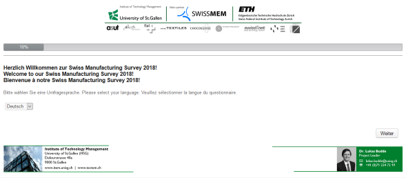 Swiss Manufacturing Survey 2018 Online